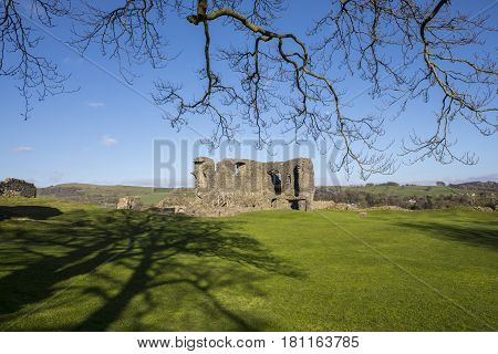 A view of the ruins of the historic Kendal Castle in Cumbria UK.