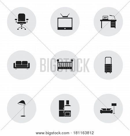 Set Of 9 Editable Home Icons. Includes Symbols Such As Davenport, Child Cot, Interior And More. Can Be Used For Web, Mobile, UI And Infographic Design.