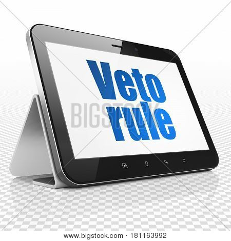 Politics concept: Tablet Computer with blue text Veto Rule on display, 3D rendering