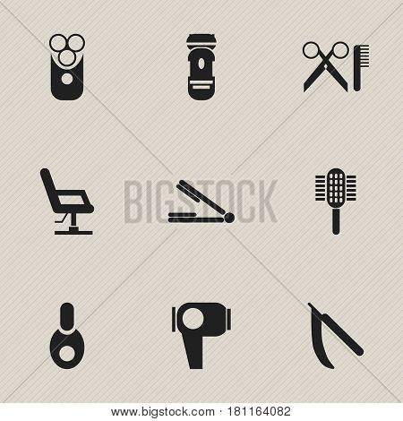 Set Of 9 Editable Tonsorial Artist Icons. Includes Symbols Such As Vial, Cutter Apparatus, Elbow Chair And More. Can Be Used For Web, Mobile, UI And Infographic Design.