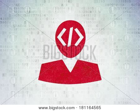 Programming concept: Painted red Programmer icon on Digital Data Paper background with Scheme Of Binary Code