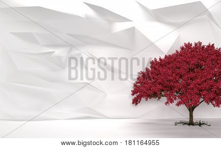 Abstract White Wall with Cherry Tree 3D Render