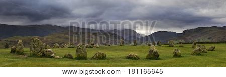 A panoramic view of the magnificent Castlerigg Stone Circle in the Lake District in Cumbria UK.