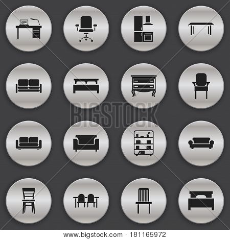 Set Of 16 Editable Furnishings Icons. Includes Symbols Such As Cuisine, Bed, Divan And More. Can Be Used For Web, Mobile, UI And Infographic Design.