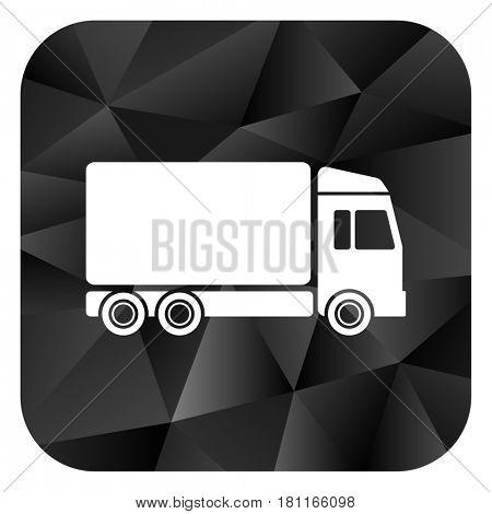 Delivery truck black color web modern brillant design square internet icon on white background.