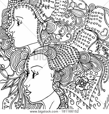 Vector girls in doodle style with gorgeous hairs on white background. Can be used as card, invitation, background element, adult coloring book. Hand drawn style.