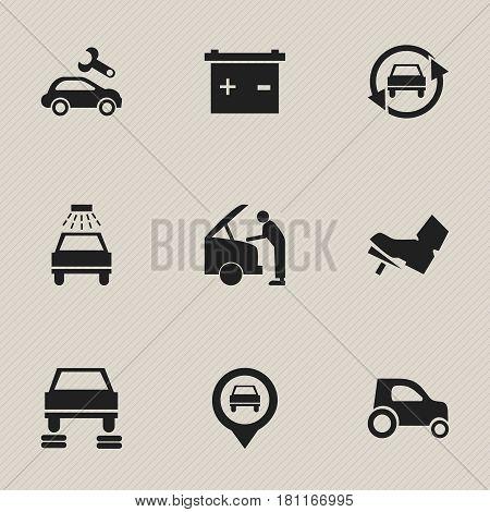 Set Of 9 Editable Vehicle Icons. Includes Symbols Such As Auto Repair, Pointer, Vehicle Car And More. Can Be Used For Web, Mobile, UI And Infographic Design.
