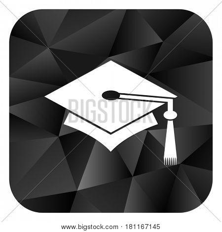 Education black color web modern brillant design square internet icon on white background.
