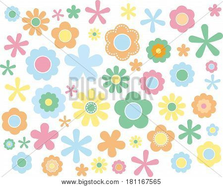60's 70's cute colorful flowers set Pastel, vector