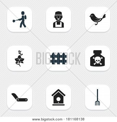 Set Of 9 Editable Plant Icons. Includes Symbols Such As Birdhouse, Clasp Knife, Wooden Barrier And More. Can Be Used For Web, Mobile, UI And Infographic Design.