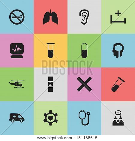 Set Of 16 Editable Clinic Icons. Includes Symbols Such As Drug, Hospital Assistant, Clinic Room And More. Can Be Used For Web, Mobile, UI And Infographic Design.