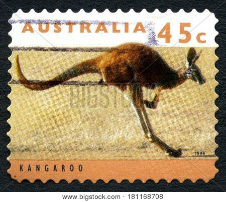 AUSTRALIA - CIRCA 1994: A used postage stamp from Australia depicting an image of a Kangaroo circa 1994.