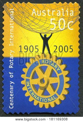 AUSTRALIA - CIRCA 2005: A used postage stamp from Australia celebrating the centenary of Rotary International circa 2005.