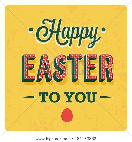Happy Easter Day vintage greeting card. Vector illustration.