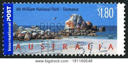 AUSTRALIA - CIRCA 2004: A used postage stamp from Australia depicting an illustration of Mount William National Park in Tasmania Australia circa 2004.