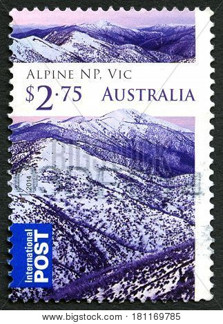 AUSTRALIA - CIRCA 2014: A used postage stamp from Australia depicting images from the Alpine National Park in Victoria Australia circa 2014.