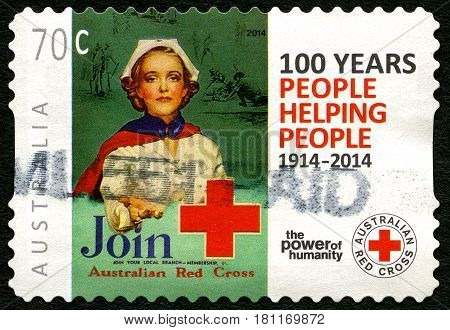AUSTRALIA - CIRCA 2014: A used postage stamp from Australia commemorating the 100th Anniversary of the Australian Red Cross circa 2014.