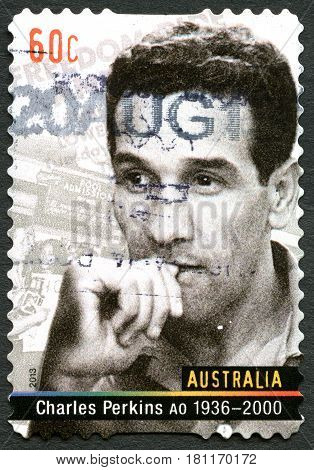 AUSTRALIA - CIRCA 2013: A used postage stamp from Australia depicting a portrait of Charles Perkins an Australian Aboriginal activist and soccer player circa 2013.
