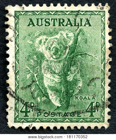 AUSTRALIA - CIRCA 1937: A used postage stamp from Australia depicting an illustration of a Koala circa 1937.