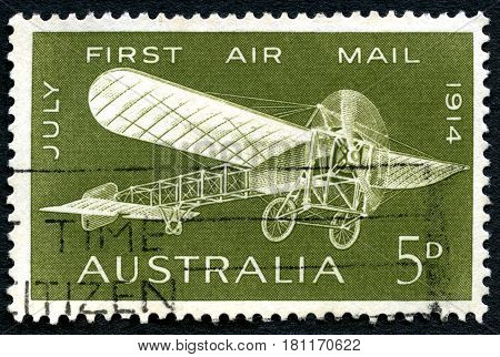 AUSTRALIA - CIRCA 1964: A used postage stamp from Australia commemorating the 50th Anniversary of the first Air Mail service in 1914 circa 1964.