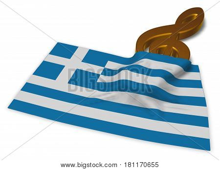 clef and flag of greece - 3d rendering
