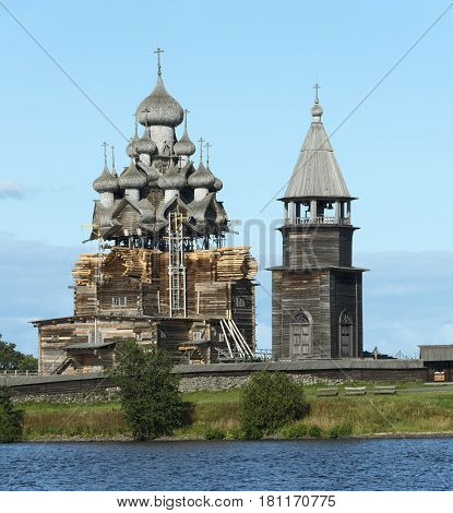 Old russian wooden architecture on Kizhi island, Onega lake, Karelia, Russia