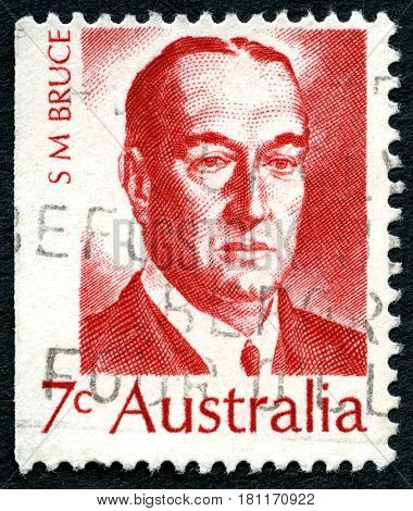 AUSTRALIA - CIRCA 1972: A used postage stamp from Australia depicting a portrait of Stanley Bruce - former Prime Minister of Australia circa 1972.