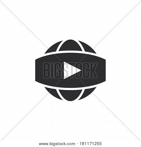 360 Degree Panoramic Video Sign. Vector Icon, Solid Logo Illustration, Pictogram Isolated On White