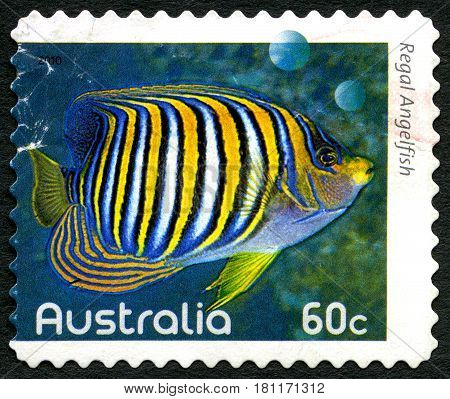 AUSTRALIA - CIRCA 2010: A used postage stamp from Australia depicting an image of a Regal Angelfish circa 2010.