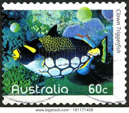 AUSTRALIA - CIRCA 2010: A used postage stamp from Australia depicting an image of a Clown Triggerfish circa 2010.