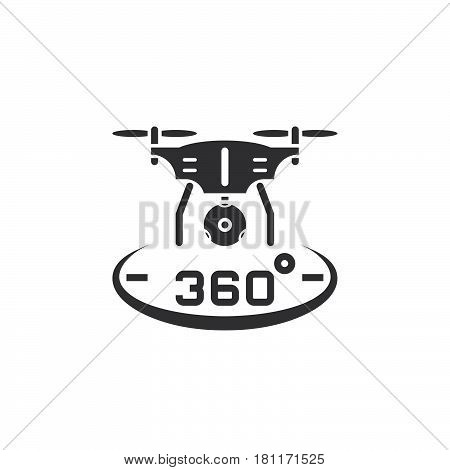 Drone Quadrocopter With 360 Degree Panoramic Camera Icon Vector, Solid Logo Illustration, Pictogram