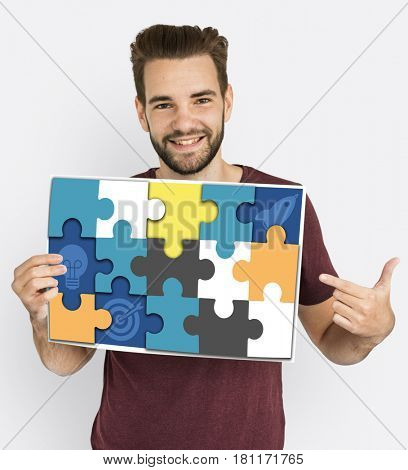 Puzzle Game Pieces Label Fun