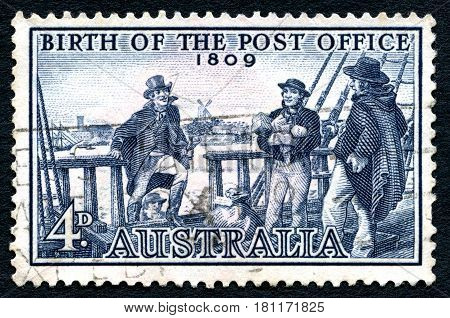AUSTRALIA - CIRCA 1959: A used postage stamp from Australia commemorating the 150th Anniversary of the Birth of the Post Office circa 1959.