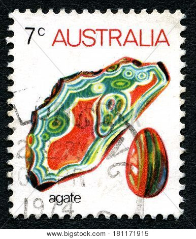 AUSTRALIA - CIRCA 1973: A used postage stamp from Australia depicting an illustration of a piece of Agate gemstone circa 1973.