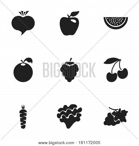 Set Of 9 Editable Fruits Icons. Includes Symbols Such As Radish, Carrot, Grapevine And More. Can Be Used For Web, Mobile, UI And Infographic Design.