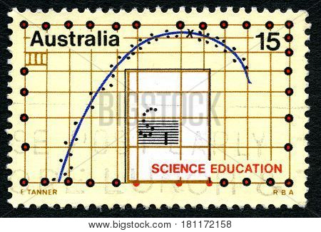 AUSTRALIA - CIRCA 1974: A used postage stamp from Australia depicting a graph and celebrating Science Education circa 1974.