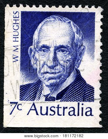 AUSTRALIA - CIRCA 1972: A used postage stamp from Australia depicting a portrait of politician and seventh Prime Minister of Australia Billy Hughes circa 1972.