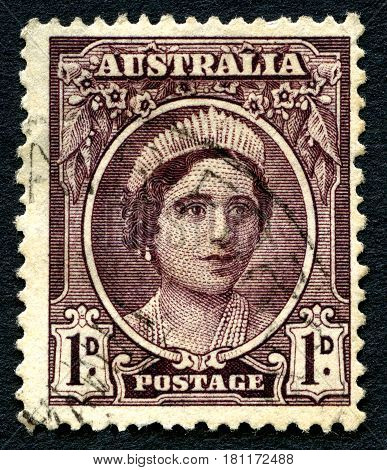 AUSTRALIA - CIRCA 1942: A used postage stamp from Australia depicting a portrait of Elizabeth Bowes Lyon later affectionately known as the Queen Mother circa 1942.