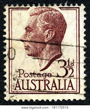 AUSTRALIA - CIRCA 1951: A used postage stamp from Australia depicting a portrait of King George VI circa 1951.