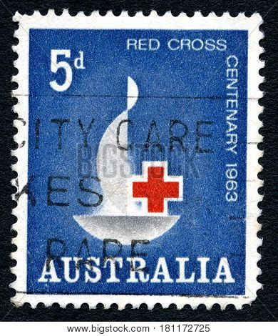 AUSTRALIA - CIRCA 1963: A used postage stamp from Australia commemorating the centenary of the International Red Cross circa 1963.
