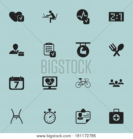 Set Of 16 Editable Complicated Icons. Includes Symbols Such As Soul, Date Block, Biceps And More. Can Be Used For Web, Mobile, UI And Infographic Design.