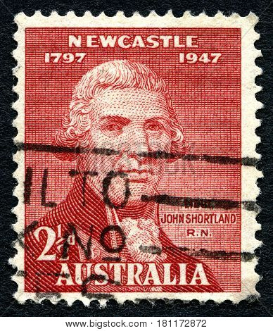 AUSTRALIA - CIRCA 1947: A used postage stamp from Australia depicting a portrait of Naval Officer John Shortland who sailed with the first fleet to Australia in 1787 circa 1947.