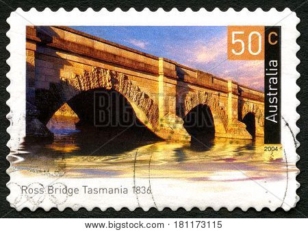 AUSTRALIA - CIRCA 2004: A used postage stamp from Australia depicting an image of Ross Bridge in Tasmania Australia circa 2004.