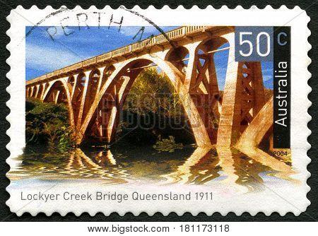 AUSTRALIA - CIRCA 2004: A used postage stamp from Australia depicting an image of Lockyer creek Bridge in Queensland Australia circa 2004.