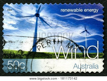 AUSTRALIA - CIRCA 2004: A used postage stamp from Australia promoting Wind Energy - a renewable energy source circa 2004.