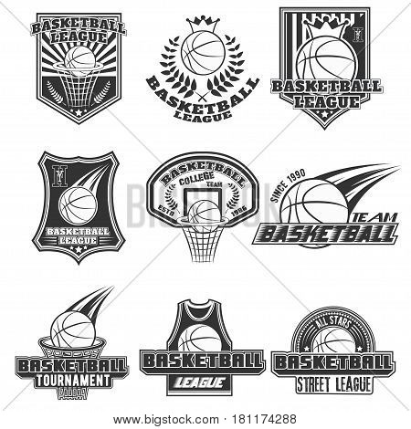 Vector monochrome set basketball logos for print, web, design, advertisement, sports team on a white background