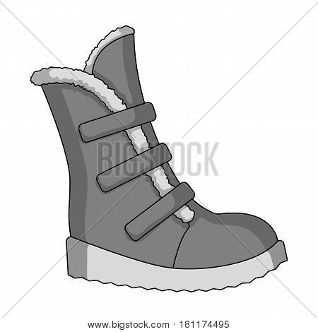 Tall winter boots made of wool with Velcro. Shoes for explorers.Different shoes single icon in monochrome style vector symbol stock web illustration.