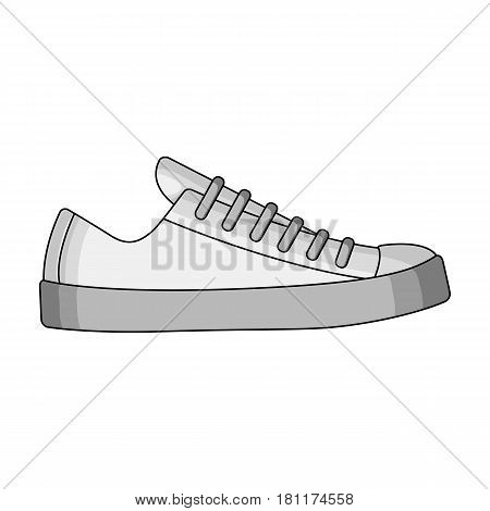 white sneakers unisex lace up. Shoes for sports and daily life.Different shoes single icon in monochrome style vector symbol stock web illustration.