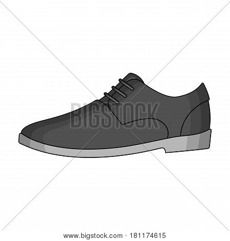Mens leather shiny shoes with laces. Shoes to wear with a suit.Different shoes single icon in monochrome style vector symbol stock web illustration.