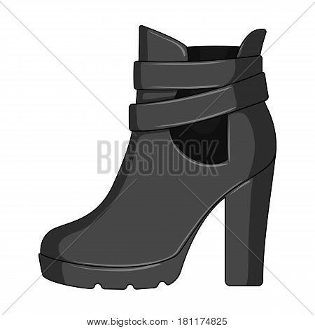High women red shoes for everyday wear .Different shoes single icon in monochrome style vector symbol stock web illustration.